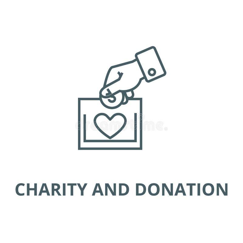 Línea icono, vector de la caridad y de la donación Muestra del esquema de la caridad y de la donación, símbolo del concepto,  ilustración del vector