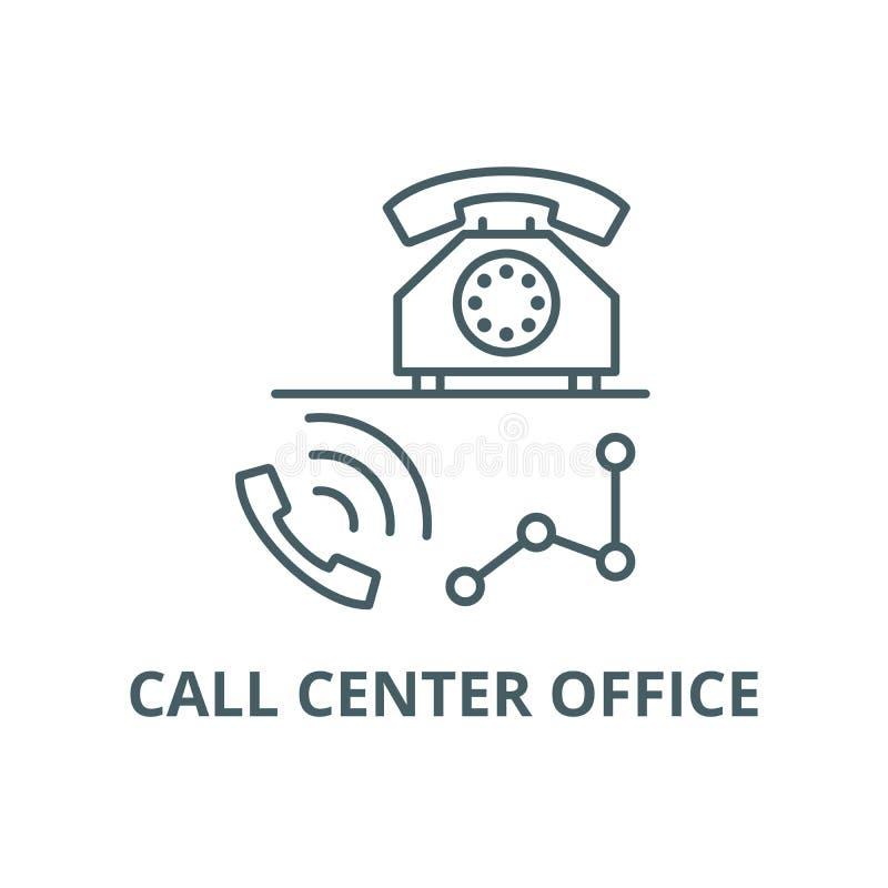 Línea icono, vector de la oficina del centro de atención telefónica Muestra del esquema de la oficina del centro de atención tele stock de ilustración