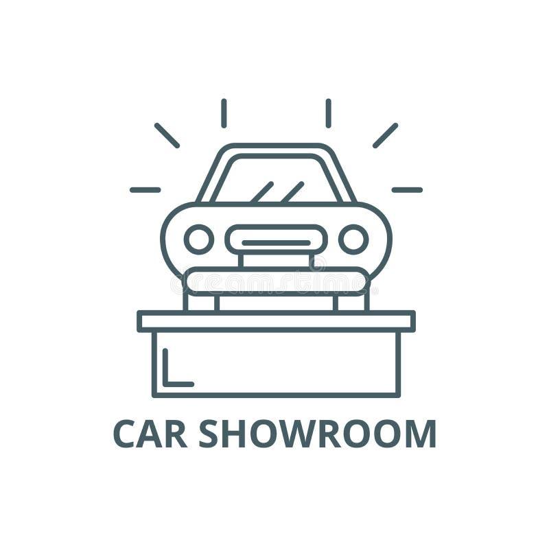 Línea icono, vector de la sala de exposición del coche Muestra del esquema de la sala de exposición del coche, símbolo del concep libre illustration