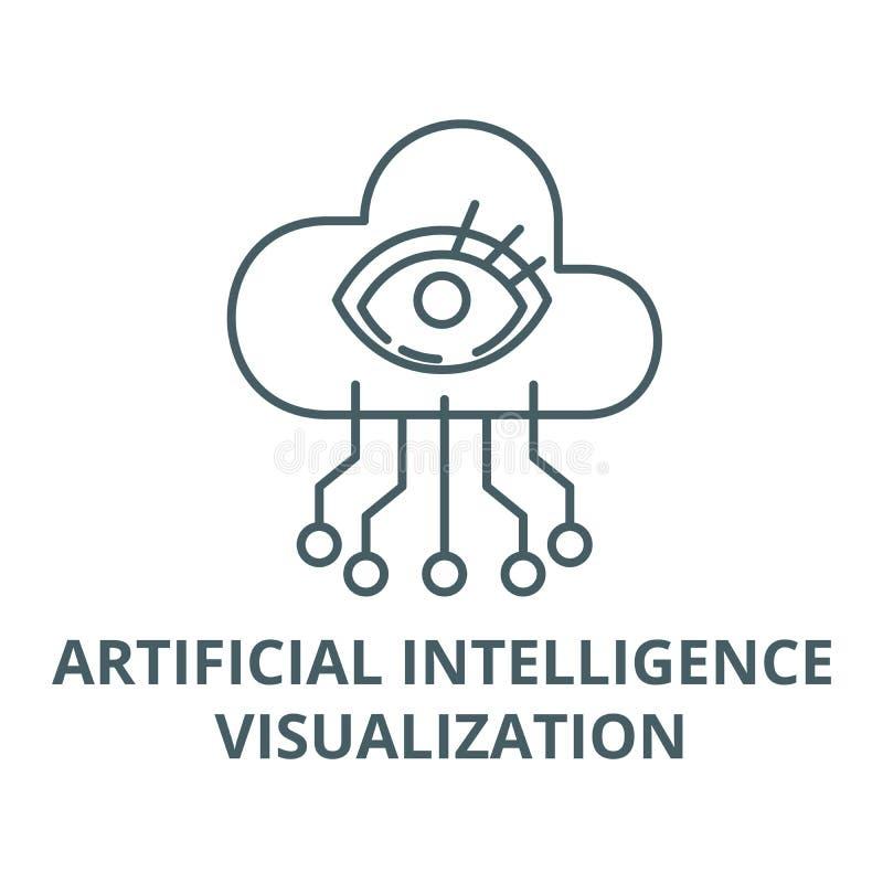 Línea icono, vector de la visualización de la inteligencia artificial Muestra del esquema de la visualización de la inteligencia  ilustración del vector
