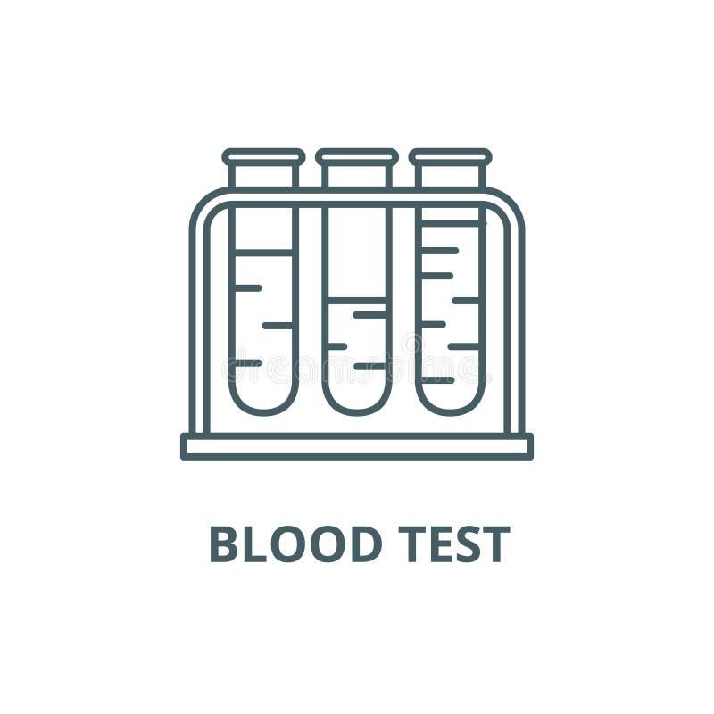 Línea icono, vector del análisis de sangre Muestra del esquema del análisis de sangre, símbolo del concepto, ejemplo plano ilustración del vector