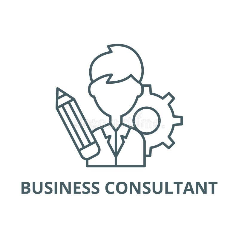 Línea icono, vector del consultor de negocio Muestra del esquema del consultor de negocio, símbolo del concepto, ejemplo plano stock de ilustración