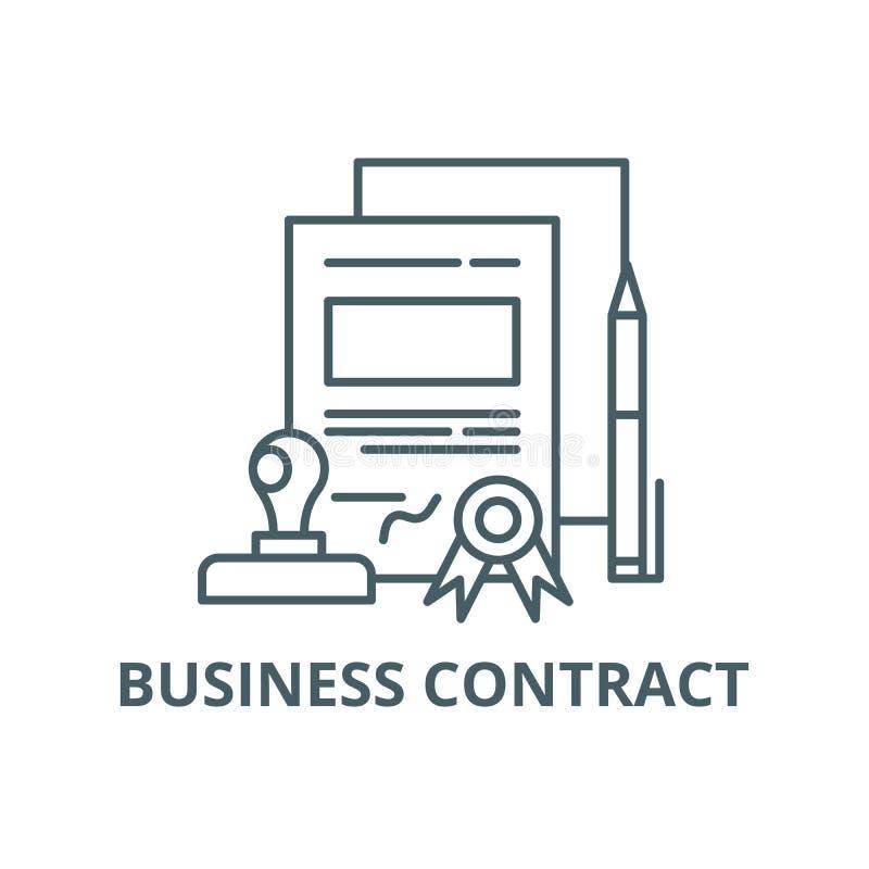 Línea icono, vector del contrato del negocio Muestra del esquema del contrato del negocio, símbolo del concepto, ejemplo plano libre illustration
