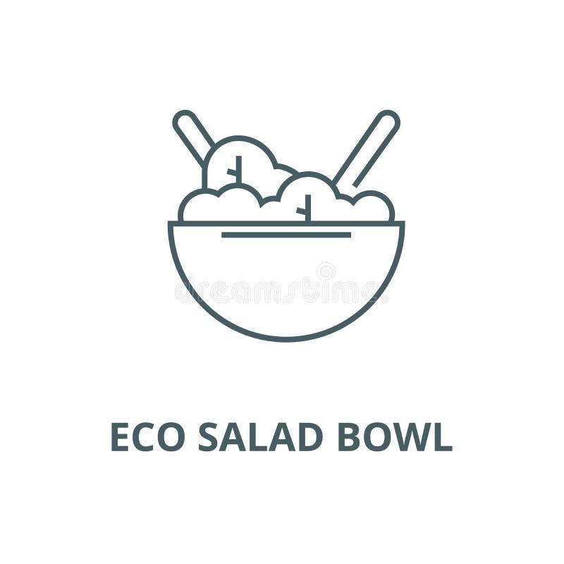 Línea icono, vector del cuenco de ensalada de Eco Muestra del esquema del cuenco de ensalada de Eco, símbolo del concepto, ejem ilustración del vector