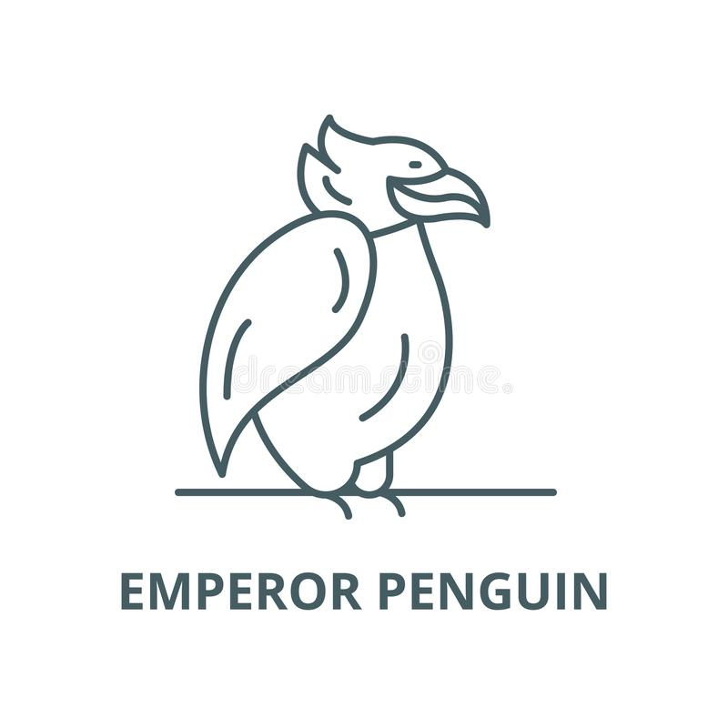 Línea icono, vector del pingüino de emperador Muestra del esquema del pingüino de emperador, símbolo del concepto, ejemplo pl ilustración del vector