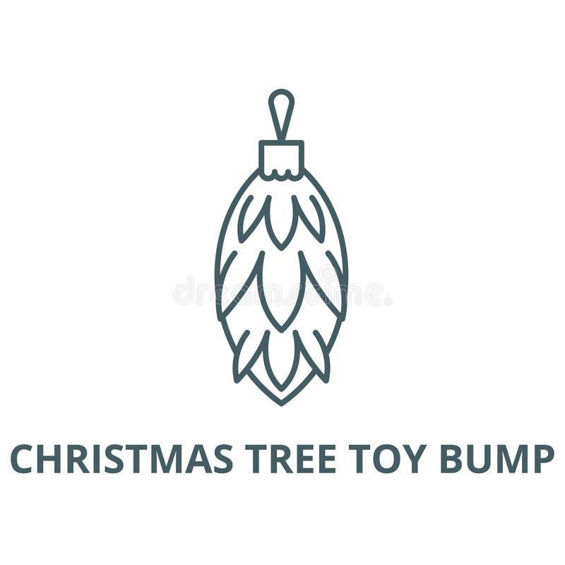Línea icono, vector del topetón del juguete del árbol de navidad Muestra del esquema del topetón del juguete del árbol de na libre illustration