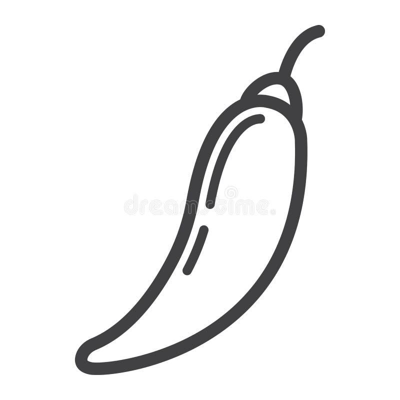 Línea icono, verdura y mexicano de la pimienta del chile picante ilustración del vector