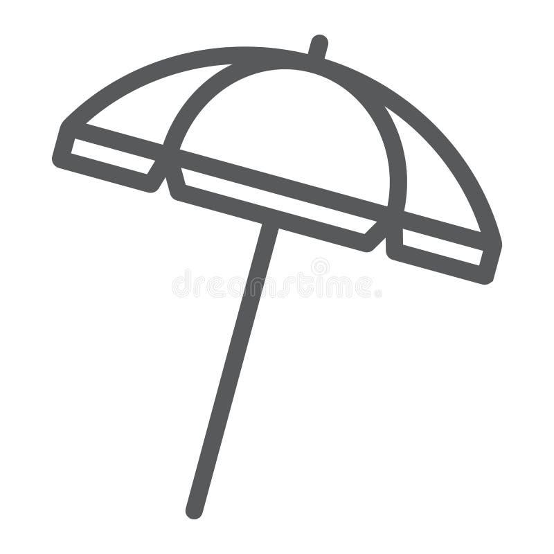 Línea icono, viaje y parasol del parasol de playa ilustración del vector