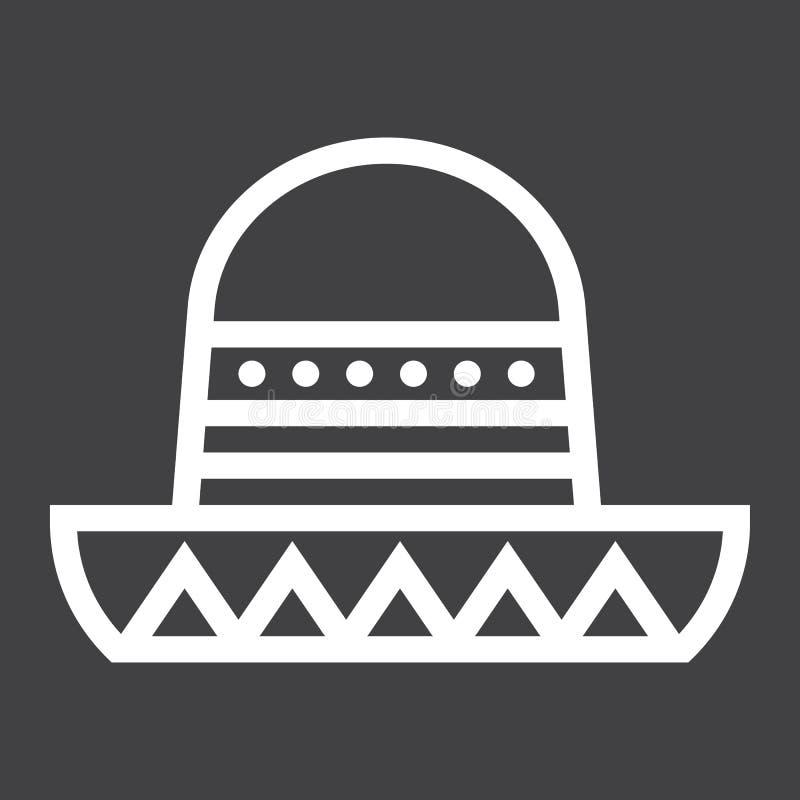 Línea icono, viaje y turismo del sombrero mexicano del sombrero libre illustration