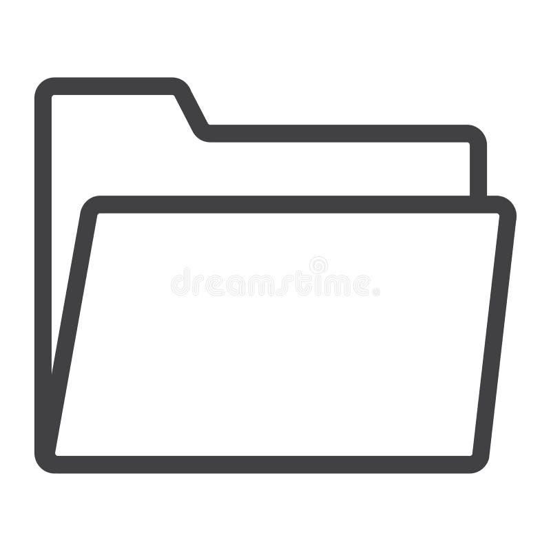Línea icono, web y móvil de la carpeta, vector de la muestra del fichero stock de ilustración