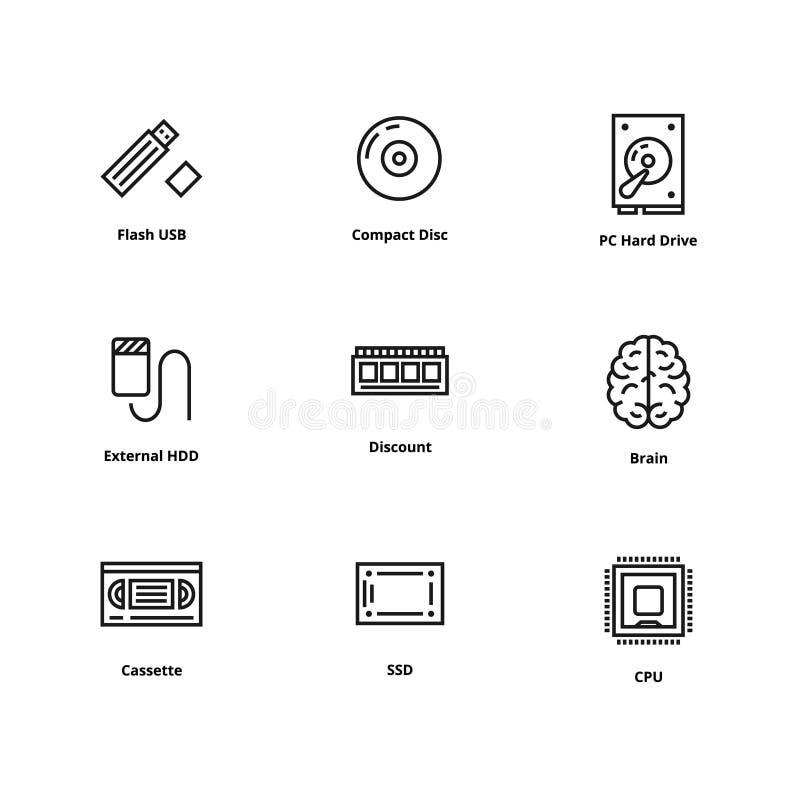 9 línea iconos stock de ilustración