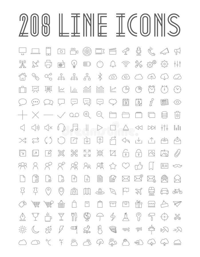 Línea iconos ilustración del vector