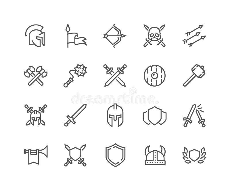 Línea iconos arcaicos de la guerra ilustración del vector