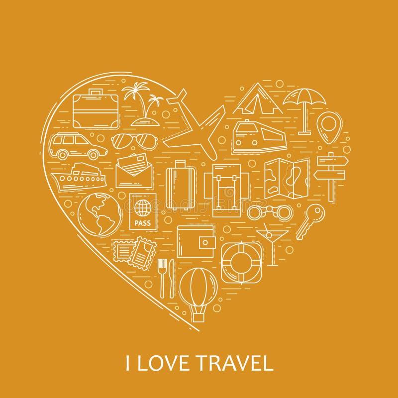 Línea iconos blancos del viaje en forma del corazón Amo viaje - vector el concepto del ejemplo para la tarjeta de la cubierta, el stock de ilustración