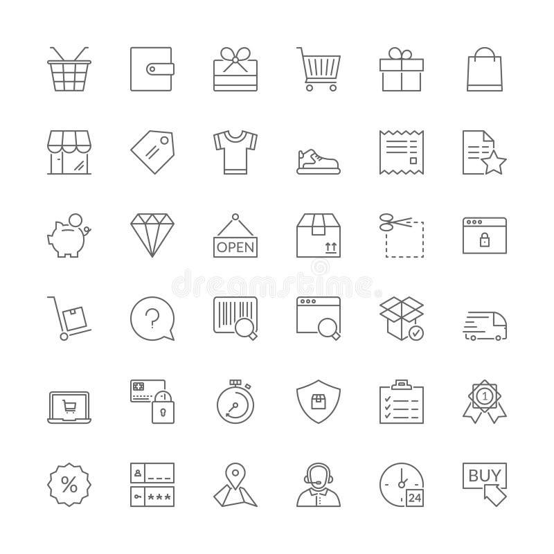 Línea iconos Compras stock de ilustración