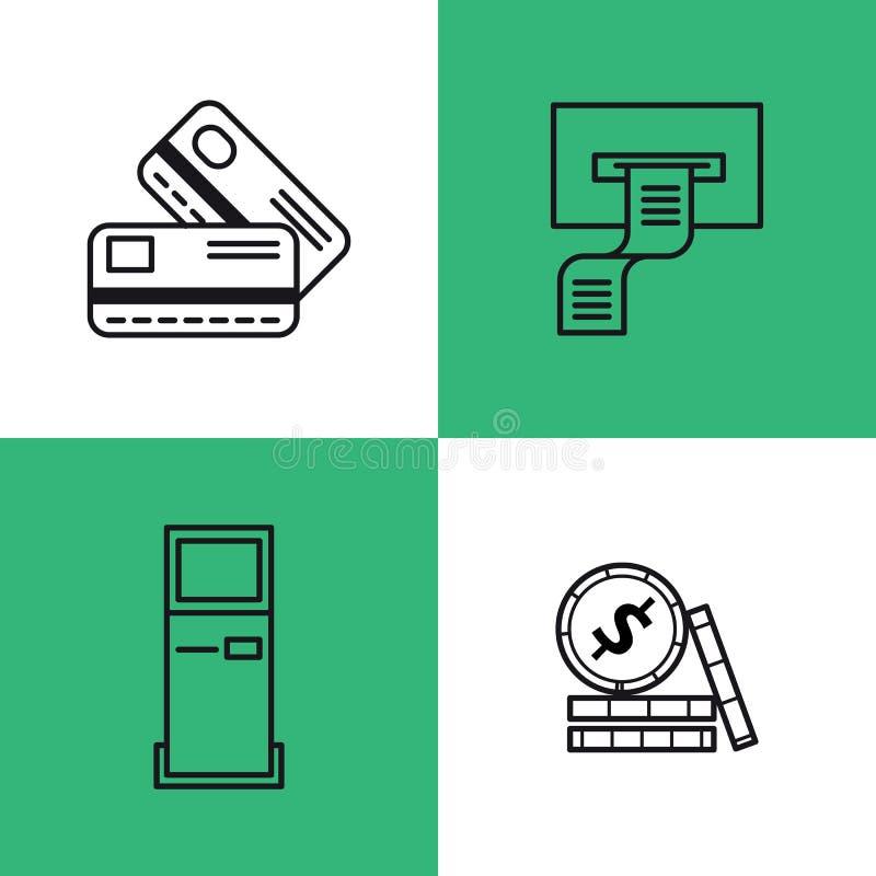 Línea iconos de actividades bancarias cuatro del arte libre illustration