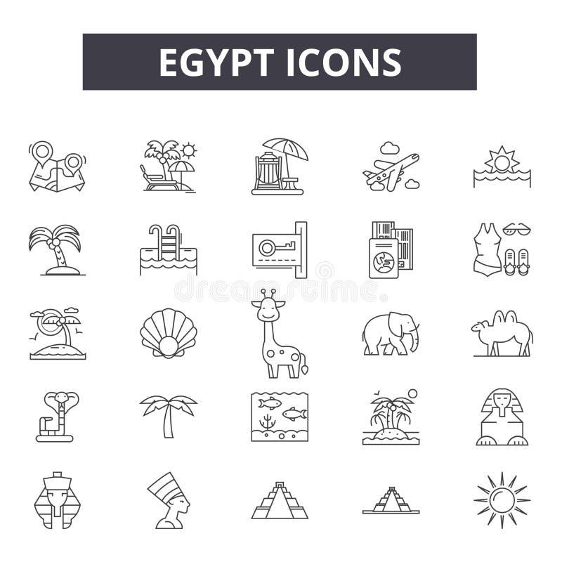 Línea iconos de Egipto para la web y el diseño móvil Muestras Editable del movimiento Ejemplos del concepto del esquema de Egipto libre illustration