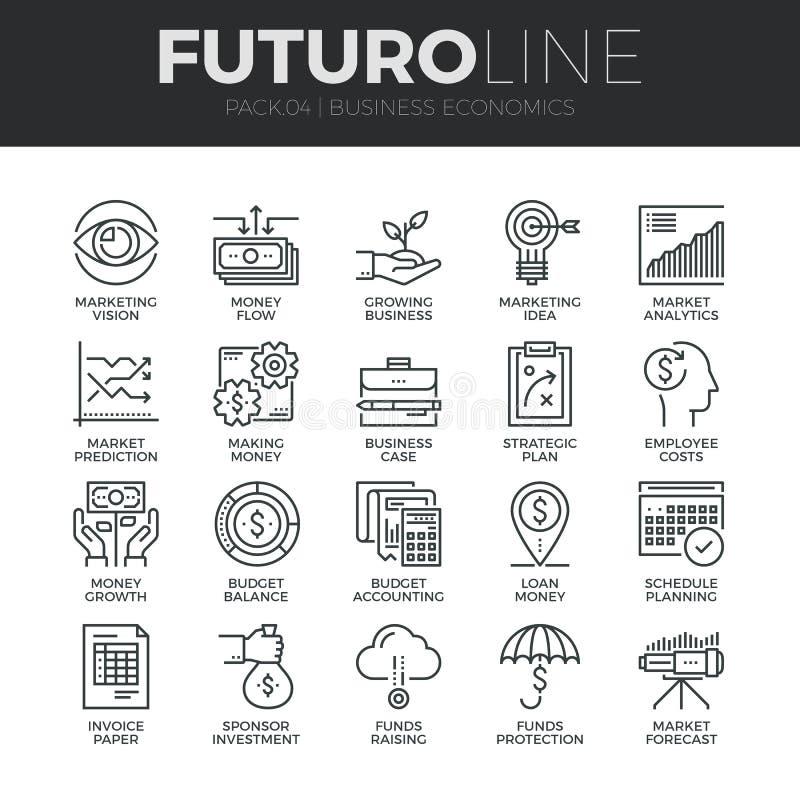 Línea iconos de Futuro de la economía del negocio fijados ilustración del vector