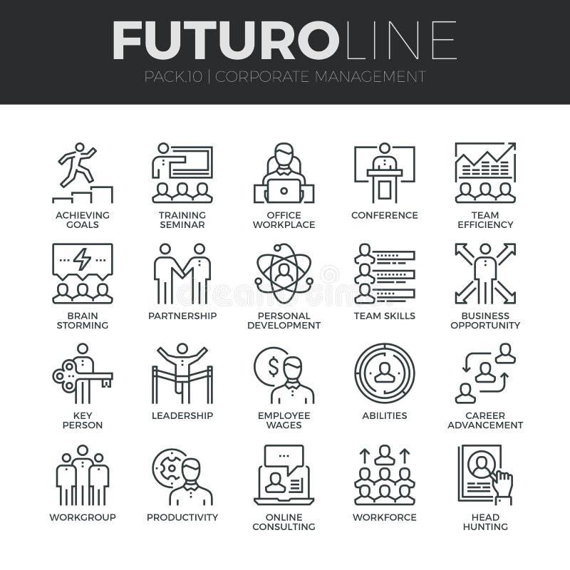 Línea iconos de Futuro de la gestión corporativa fijados stock de ilustración