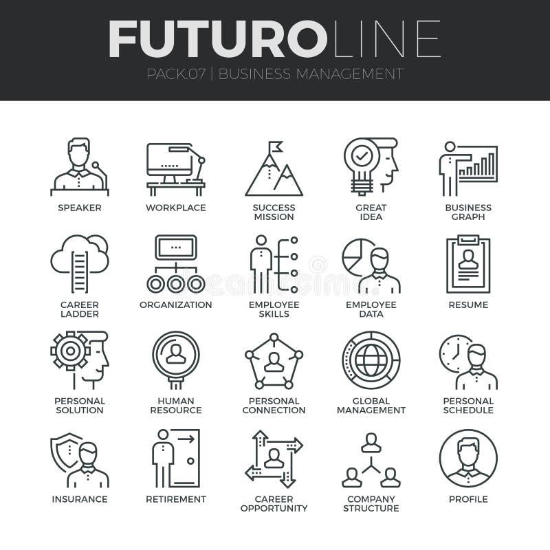 Línea iconos de Futuro de la gestión de negocio fijados stock de ilustración