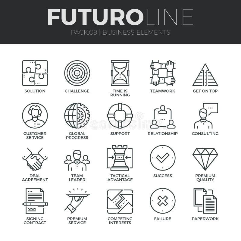 Línea iconos de Futuro de los elementos del negocio fijados stock de ilustración