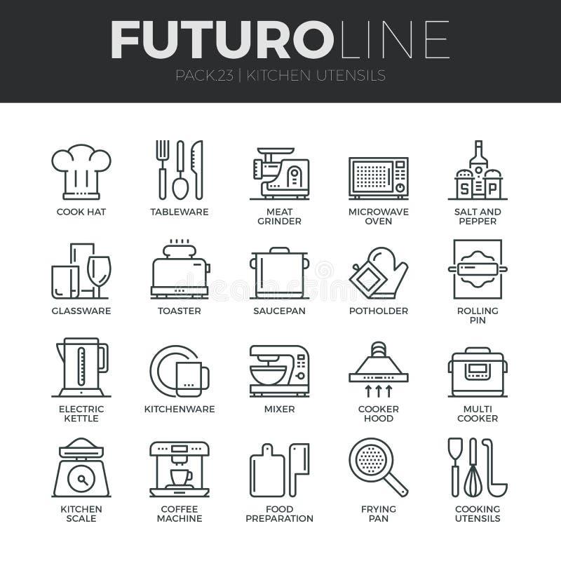 Línea iconos de Futuro de los utensilios de la cocina fijados ilustración del vector