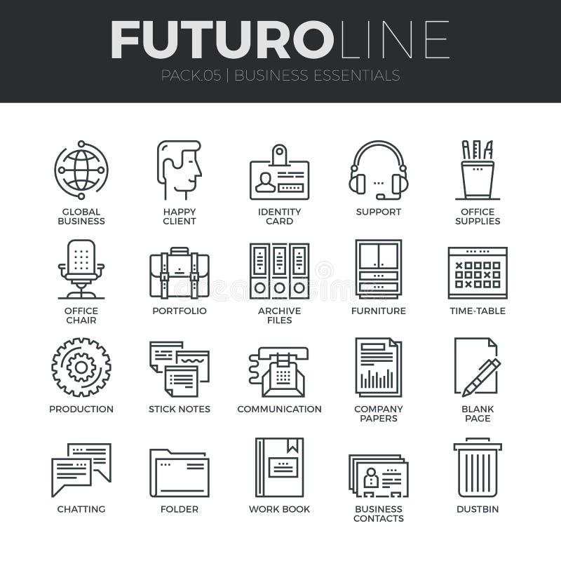 Línea iconos de Futuro del esencial del negocio fijados ilustración del vector
