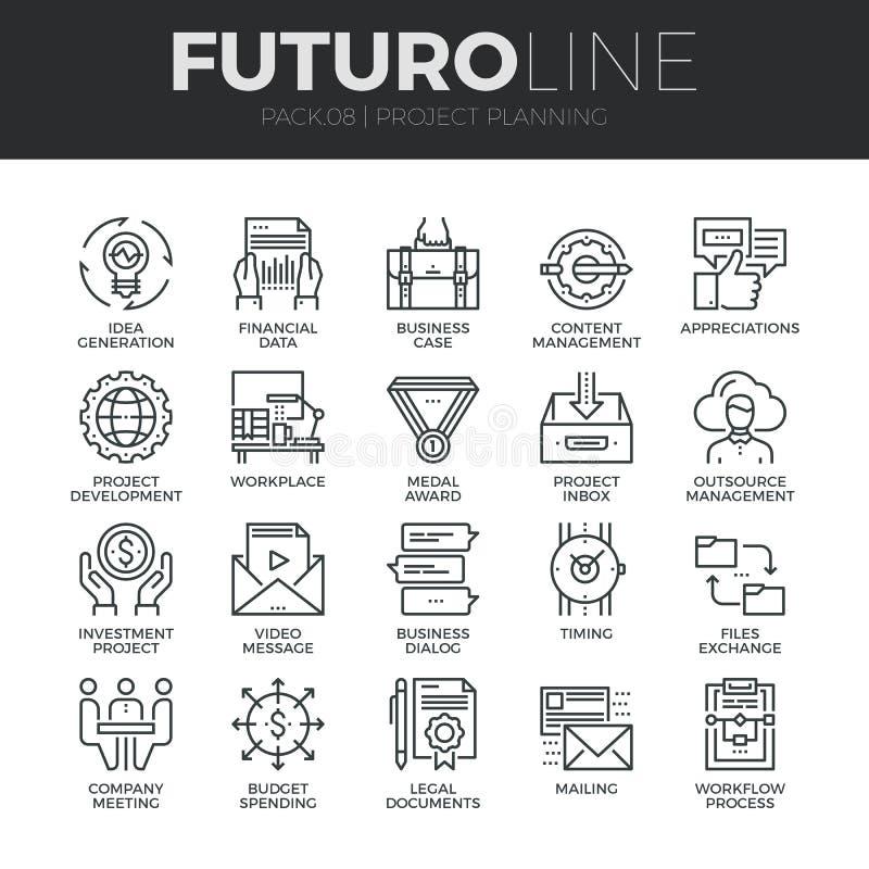 Línea iconos de Futuro del planeamiento de proyecto fijados ilustración del vector