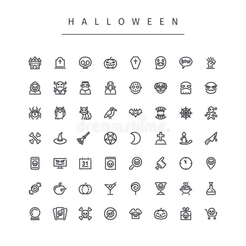 Línea iconos de Halloween fijados ilustración del vector