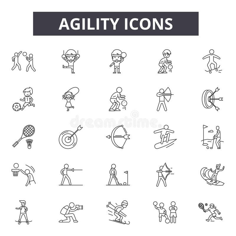 Línea iconos de la agilidad Muestras Editable del movimiento Iconos del concepto: ágil, desarrollo, melé, estrategia, metodología ilustración del vector
