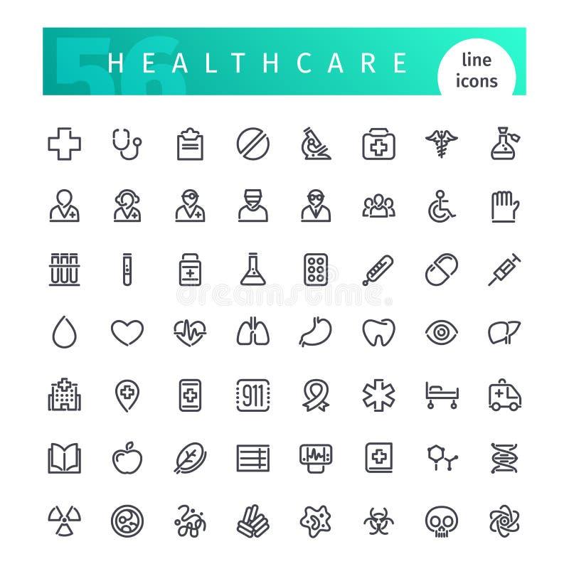 Línea iconos de la atención sanitaria fijados stock de ilustración