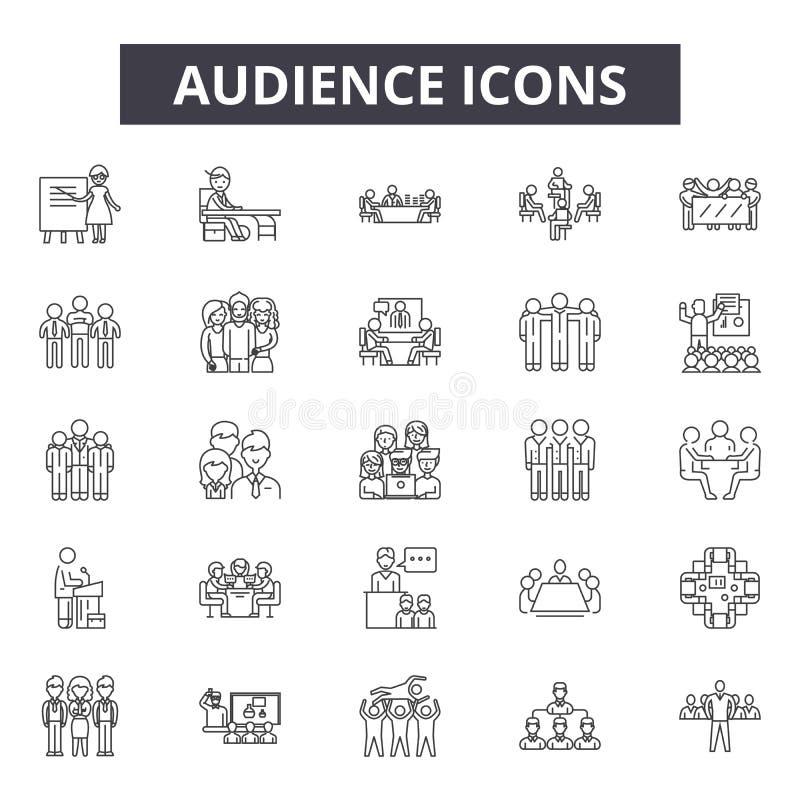 Línea iconos de la audiencia para la web y el diseño móvil Muestras Editable del movimiento Ejemplos del concepto del esquema de  libre illustration
