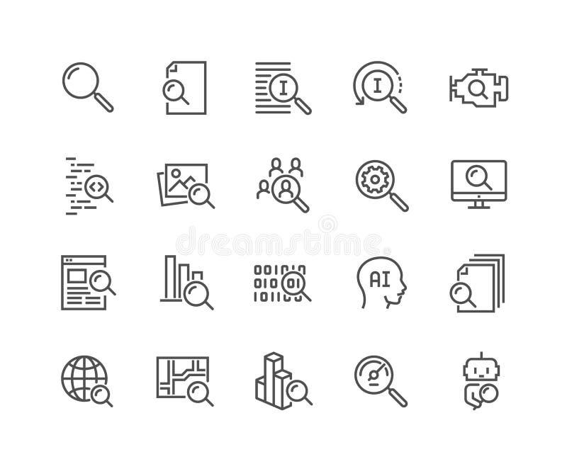 Línea iconos de la búsqueda stock de ilustración