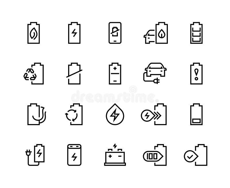 Línea iconos de la batería El litio de carga de la electricidad de la carga del coche del cargador de la energía eléctrica de libre illustration