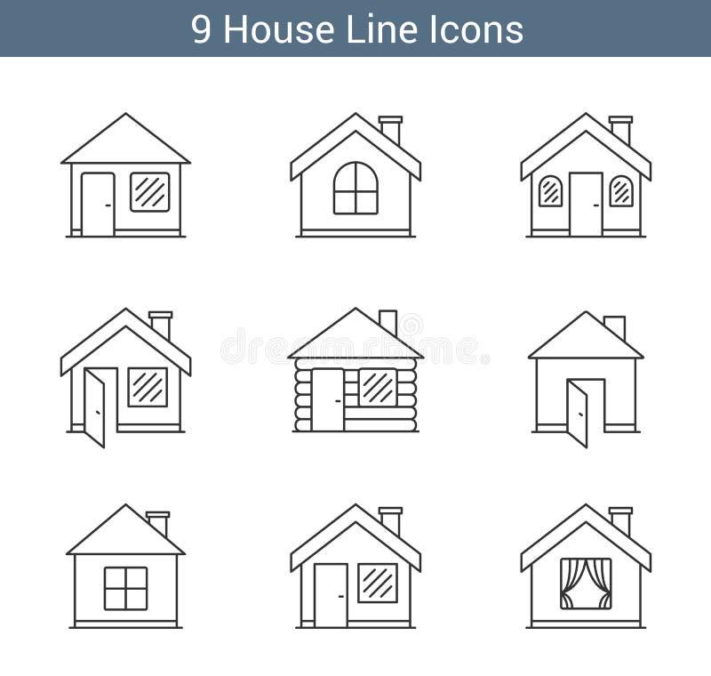 Línea iconos de la casa stock de ilustración