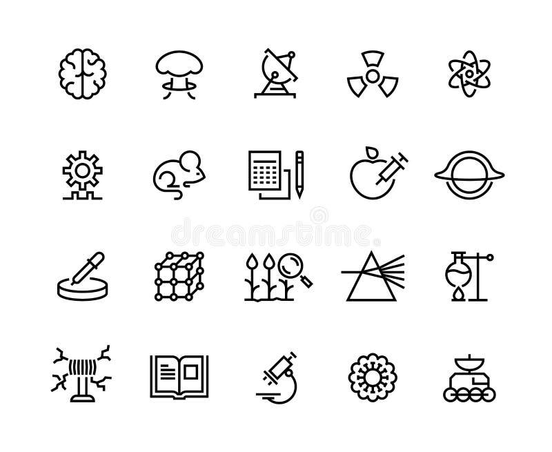 Línea iconos de la ciencia Investigación de la tecnología, exploración médica de la astronomía de la biología y equipo Instrument stock de ilustración