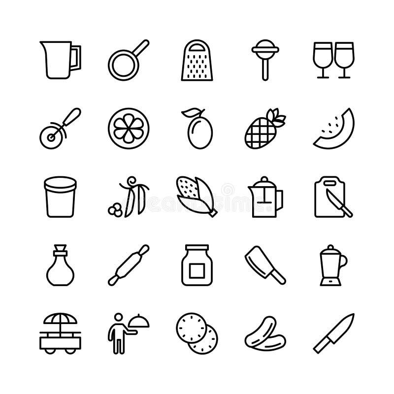 Línea iconos 19 de la comida del vector ilustración del vector