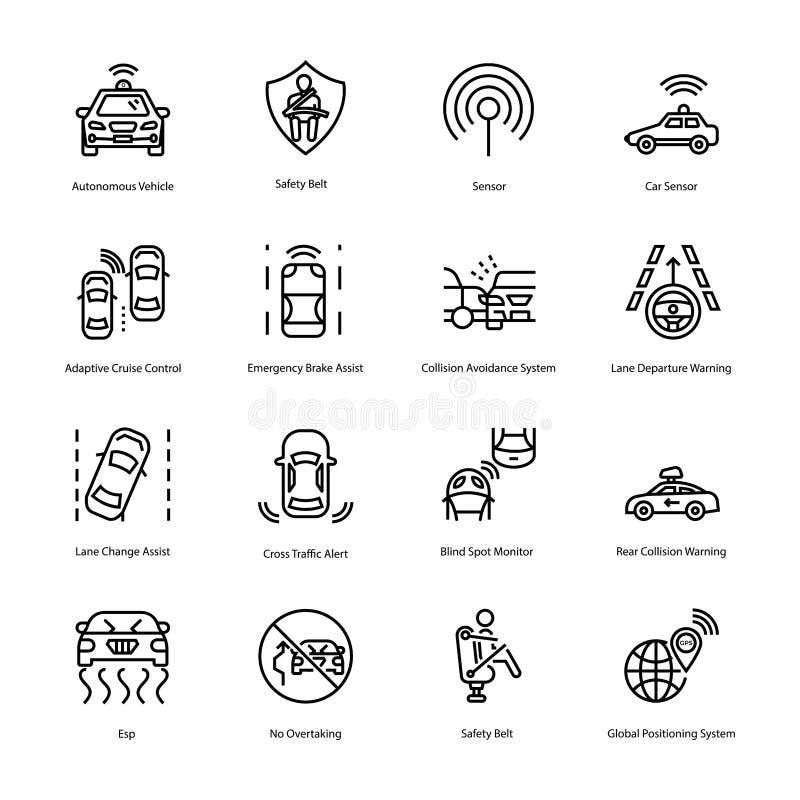 Línea iconos de la conducción de automóviles fotos de archivo libres de regalías