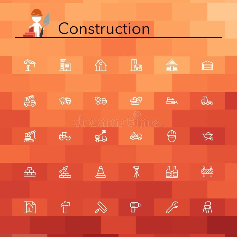 Línea iconos de la construcción stock de ilustración