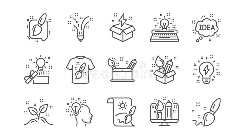 Línea iconos de la creatividad Diseñador creativo, idea e inspiración Sistema linear del icono Vector stock de ilustración