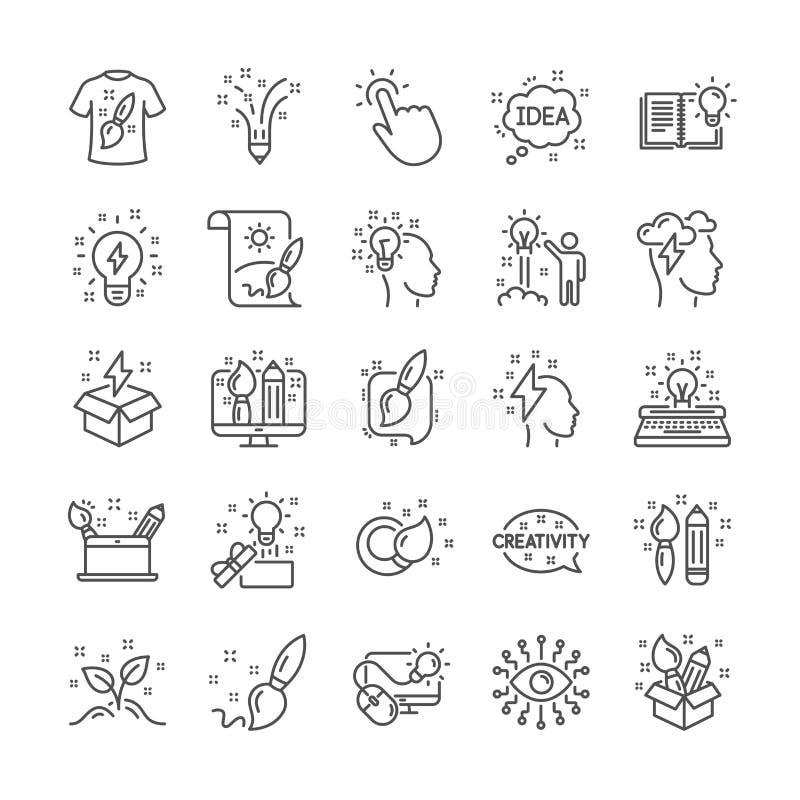 Línea iconos de la creatividad Sistema de muestras del diseño, de la idea y de la inspiración Vector ilustración del vector