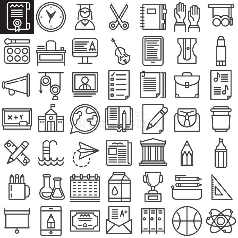 Línea iconos de la educación fijados stock de ilustración