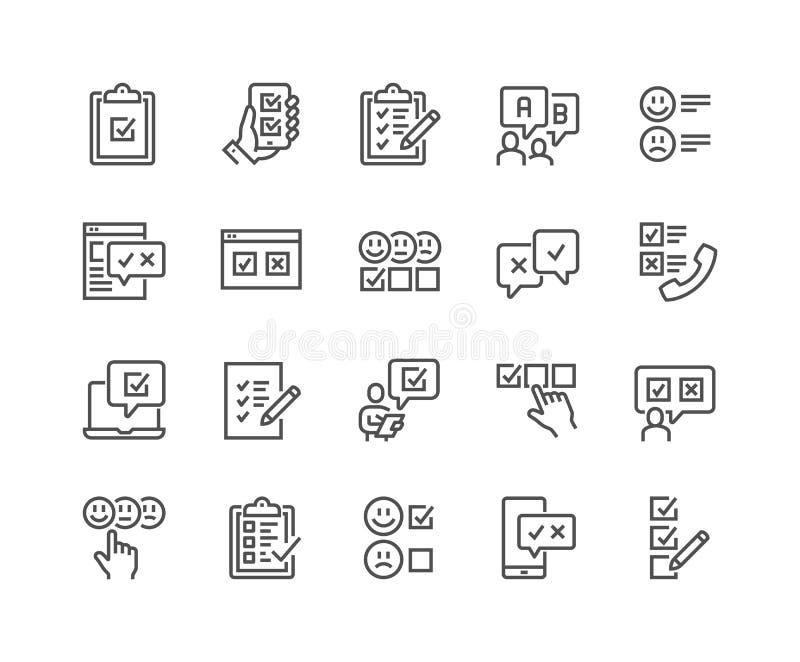 Línea iconos de la encuesta stock de ilustración