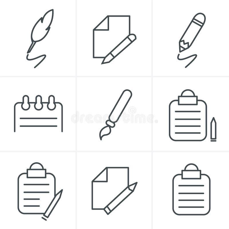 Línea iconos de la escritura del estilo de los iconos ilustración del vector