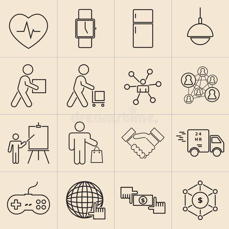 Línea iconos de la exposición fijados libre illustration
