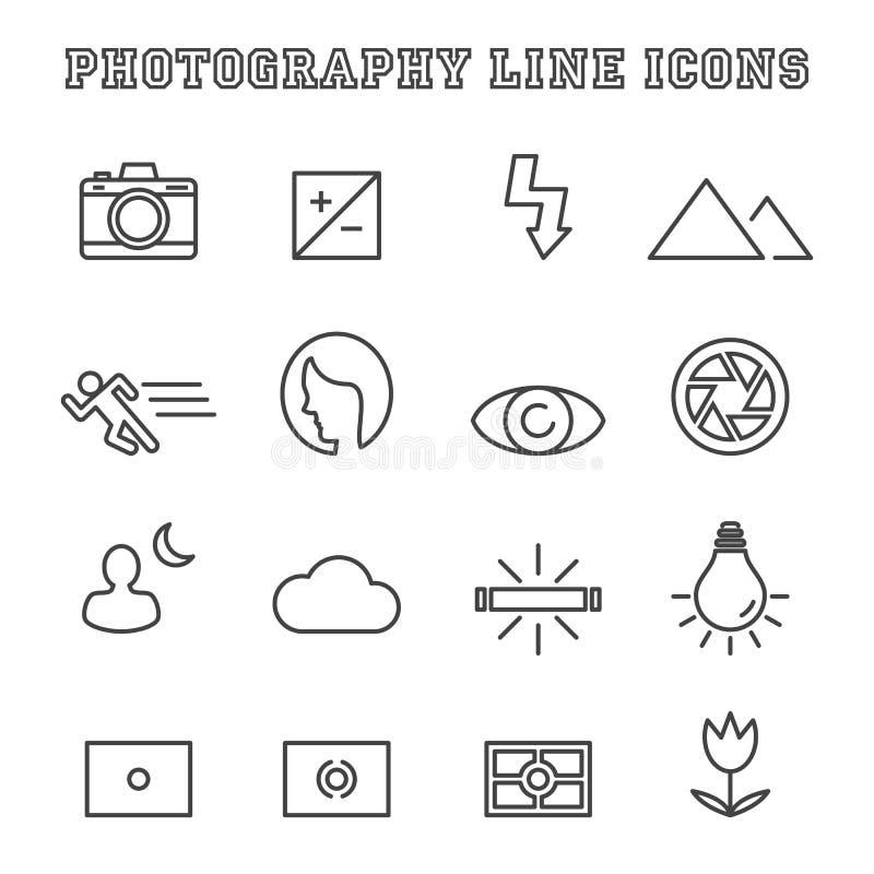 Línea iconos de la fotografía stock de ilustración
