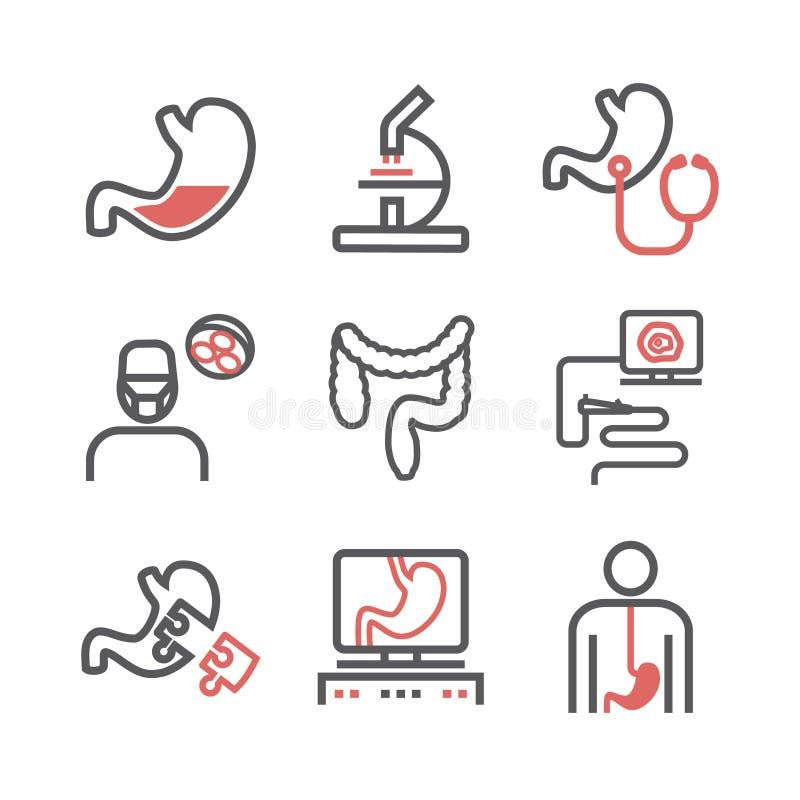 Línea iconos de la gastroenterología Departamento del hospital Centro de salud Muestra del vector para los gráficos del web stock de ilustración