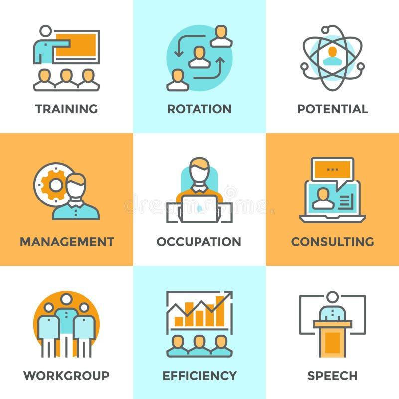 Línea iconos de la gestión corporativa fijados libre illustration