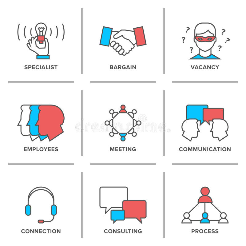 Línea iconos de la gestión de negocio fijados libre illustration