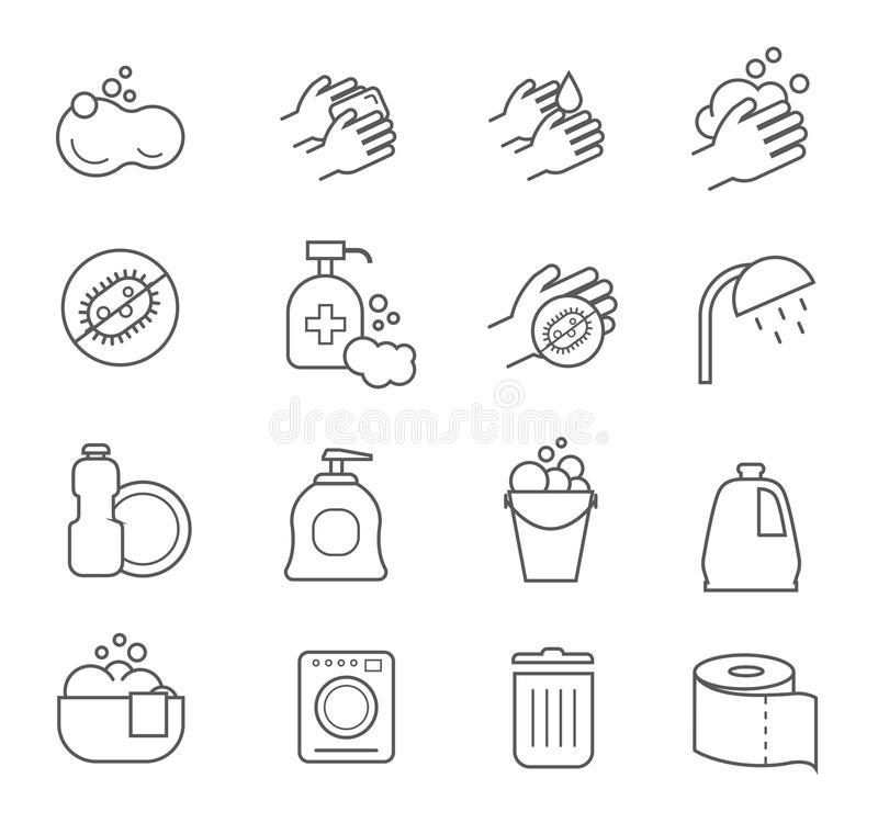 Línea iconos de la higiene Limpiando y limpie las muestras de la silueta del vector para el retrete del cuarto de baño ilustración del vector